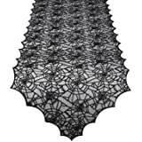 ibohr Halloween Table Runner with Spider Web Lace Festival Table Runner Halloween Table Decoration for Parties…