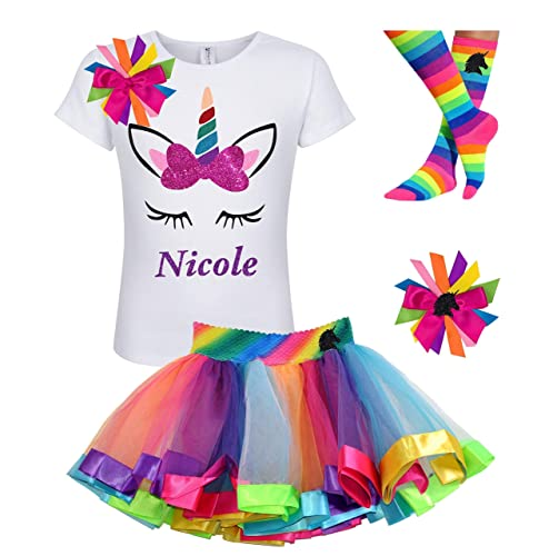 f823b5fb1 Amazon.com: Rainbow Unicorn Shirt Stripe Tutu Outfit Girls Birthday 4PC Gift  Set Personalized Name: Handmade