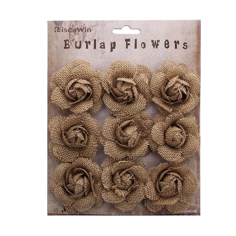 Mix Natural Hessian Flowers Burlap Lotus Jute Dandelion Burlap Rose Vintage for DIY Craft Wedding Favor Decoration Centerpieces-9 Pcs
