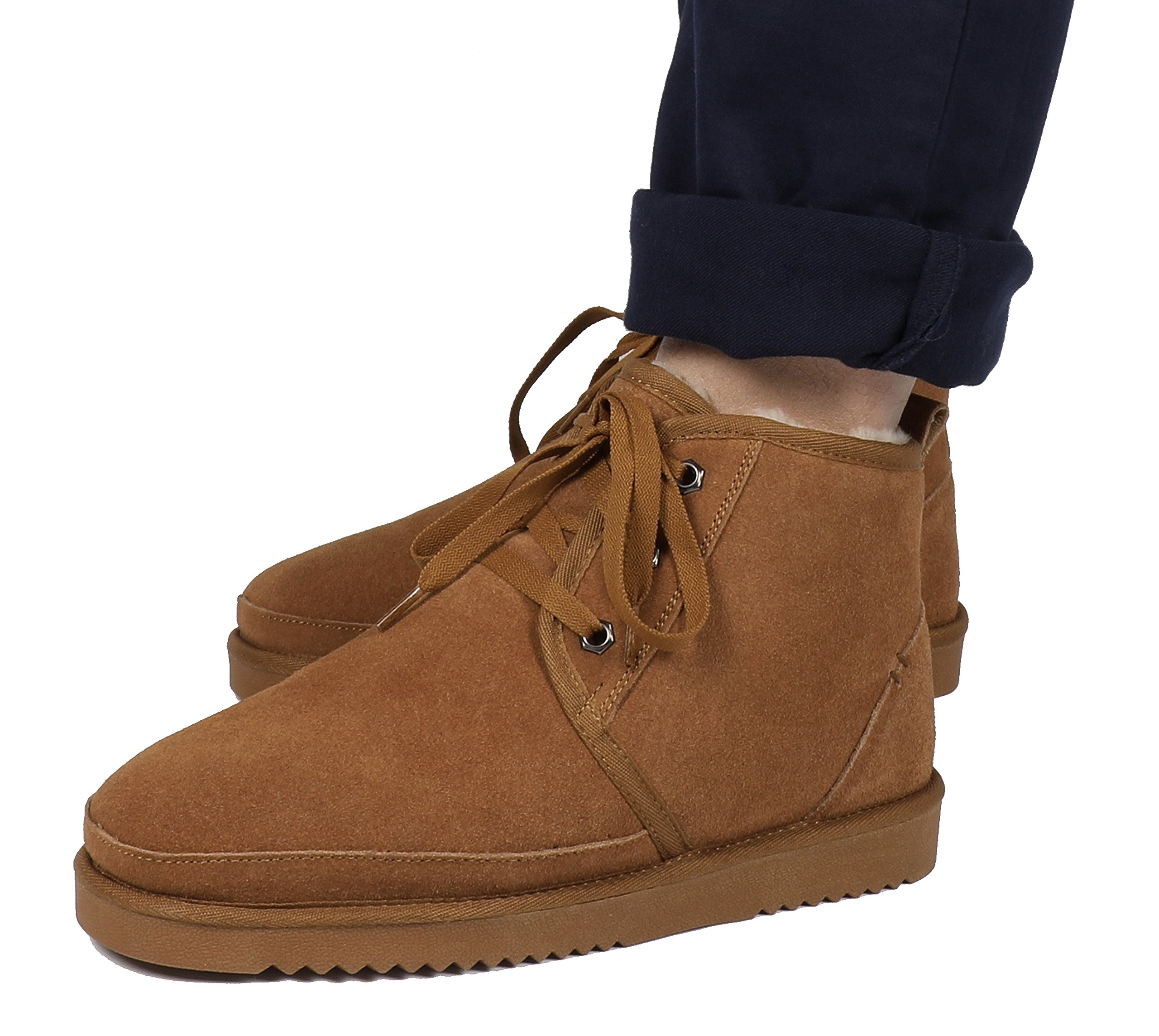 DREAM PAIRS Men's Wolly-01 Chesnut Suede Sheepskin Fur Winter Boots Size 9.5 M US