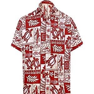 b977fedd7 LA LEELA button Down Summer Casual Tropical Pocket Hawaiian Aloha beach  shirts for men luau camp