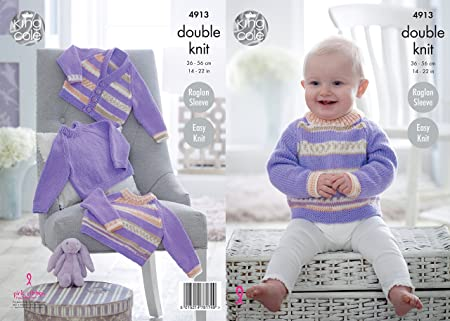 7f4275d5ceadd Image Unavailable. Image not available for. Colour  King Cole 4913 Knitting  Pattern Baby Easy Knit Raglan Sweaters   Cardigan ...