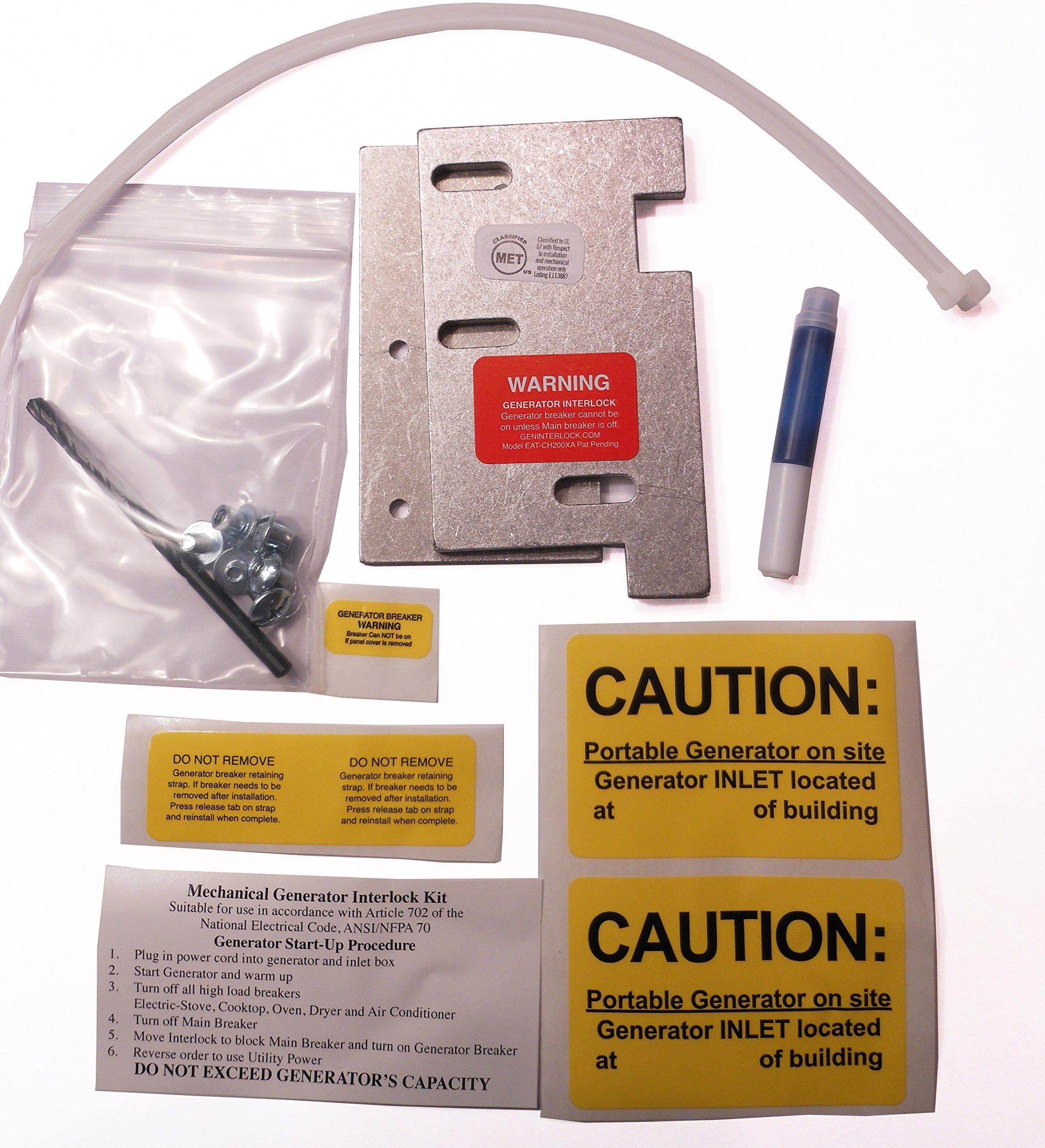 EAT-CH200XA Eaton or Cutler Hammer Generator Interlock Kit Vertical Throw Main 150 or 200 amp Panel Generator Interlock Kit