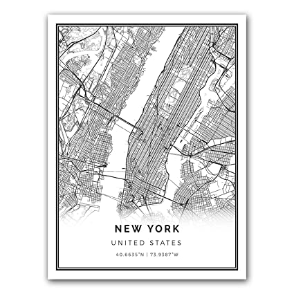 Map Of New York Poster.Amazon Com New York Map Poster Print Modern Black And White Wall