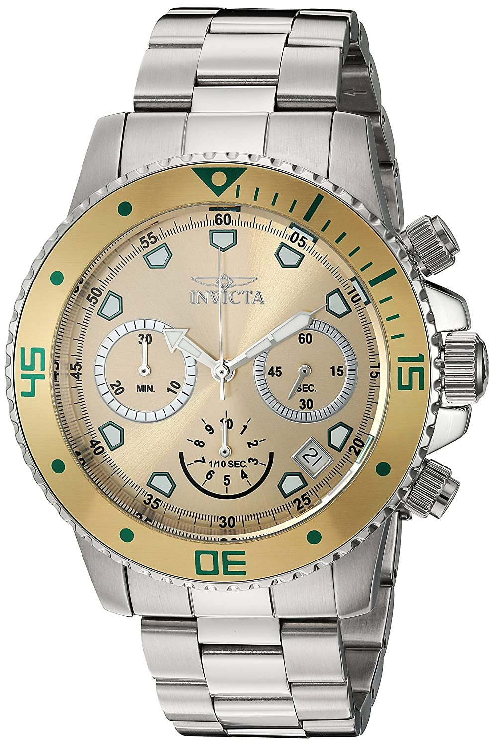 84726b82a37 Amazon.com  Invicta Men s Pro Diver Chrono Stainless Steel Champagne Dial  Watch (21888)  Watches