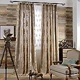 KoTing Modern Classic Brown European Totem Net Yarn Flower Pattern Design Art Jacquard Curtains Drapes Grommet Top,1 Panel,50 by 100-Inch