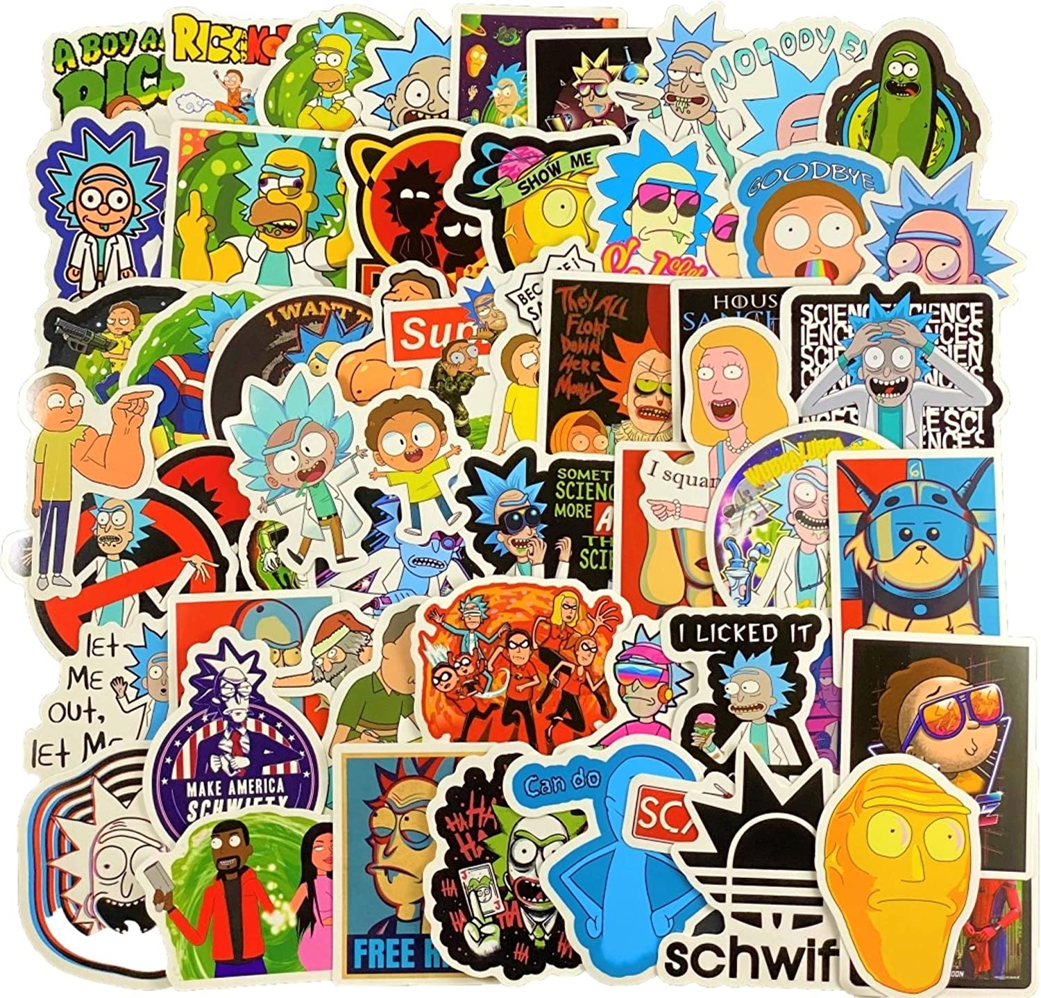 66 Pcs Rick and Morty Stickers Waterproof Vinyl Decal Decoration for Water Bottles Laptop Hydro Flask hydroflask Luggage Cup Mobile Phone Skateboard Decals, Sticker Bomb Bumper Stickers
