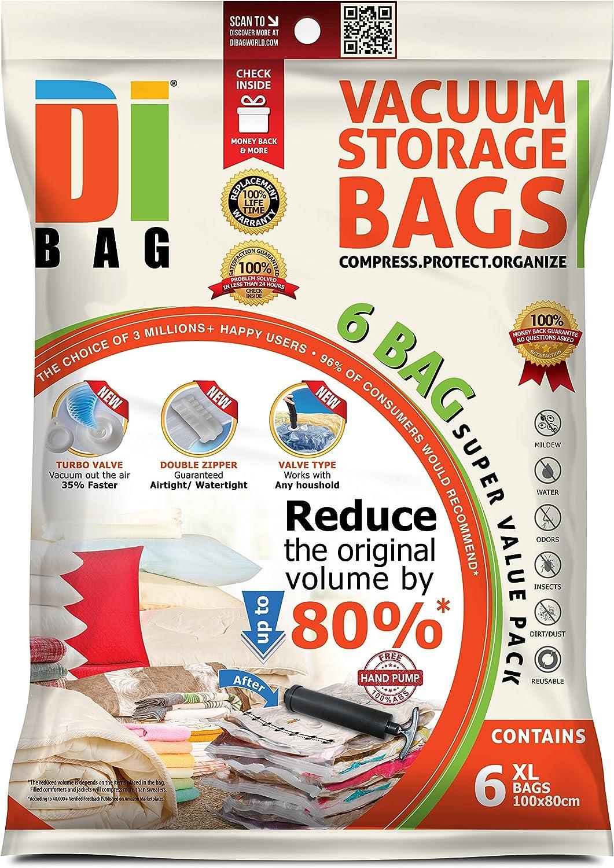 DIBAG 6 Bolsas de almacenaje al vacío de ropa para ahorrar espacio. 6 extra grande (100 x 80cm) bolsas ahorradoras de espacio para viaje . Para ropa de cama, almohadas, mantas, cortinas y edredones