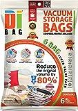 Housses de rangement sous vide - 6 sacs 100x80 cm de voyages pour économiser de l'espace - Sac de compression aspirable pour ranger et emballer vêtements, couettes, lit et valise - DIBAG