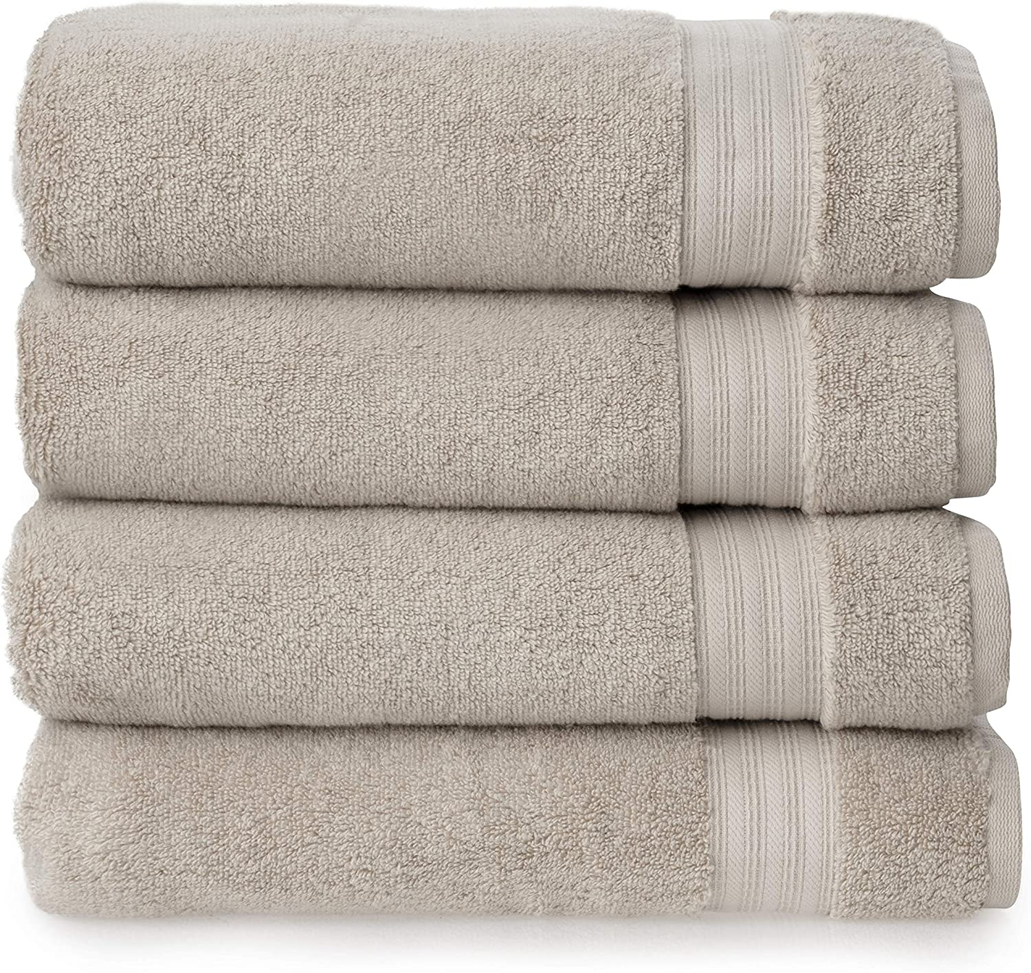 Welhome Cotton Rayon from Bamboo Towels (Flax Brown) - Set of 4 Bath Towels -Soft & Fluffy -Highly Absorbent -Fade Resistant - Durable - Machine Washable