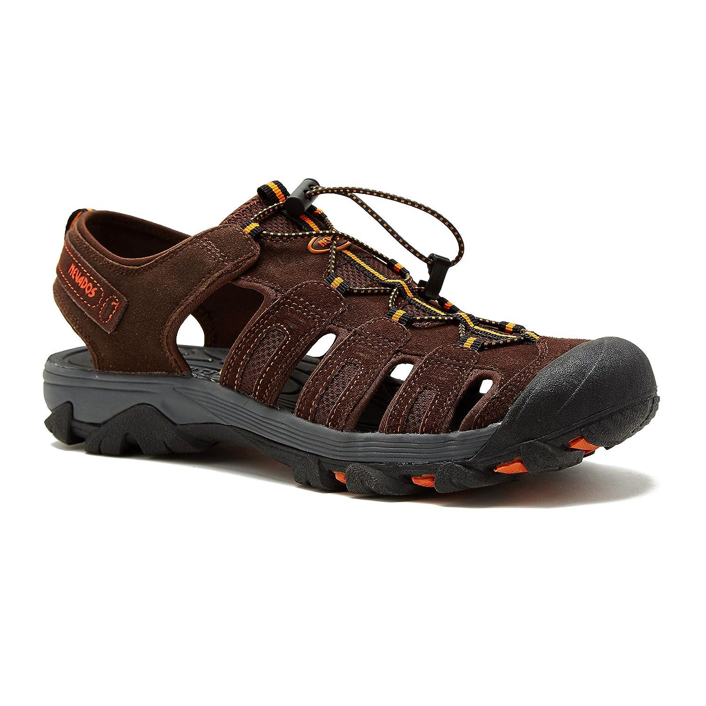 Nevados Men's Newton Bump Toe Sandal with Bungee Strap B07B4M7Z1Y 7 D(M) US|Brown/Orange