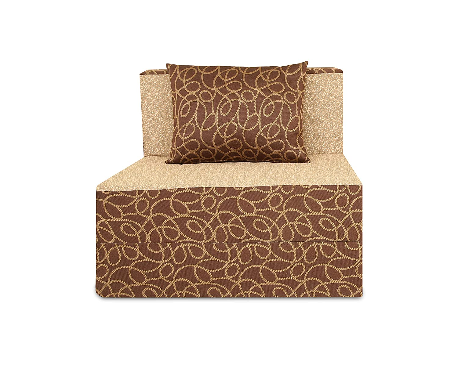 Adorn India Easy Three Seater Sofa Cum Bed (Brown and Gold) (Brown & Beige, 3 x 6)