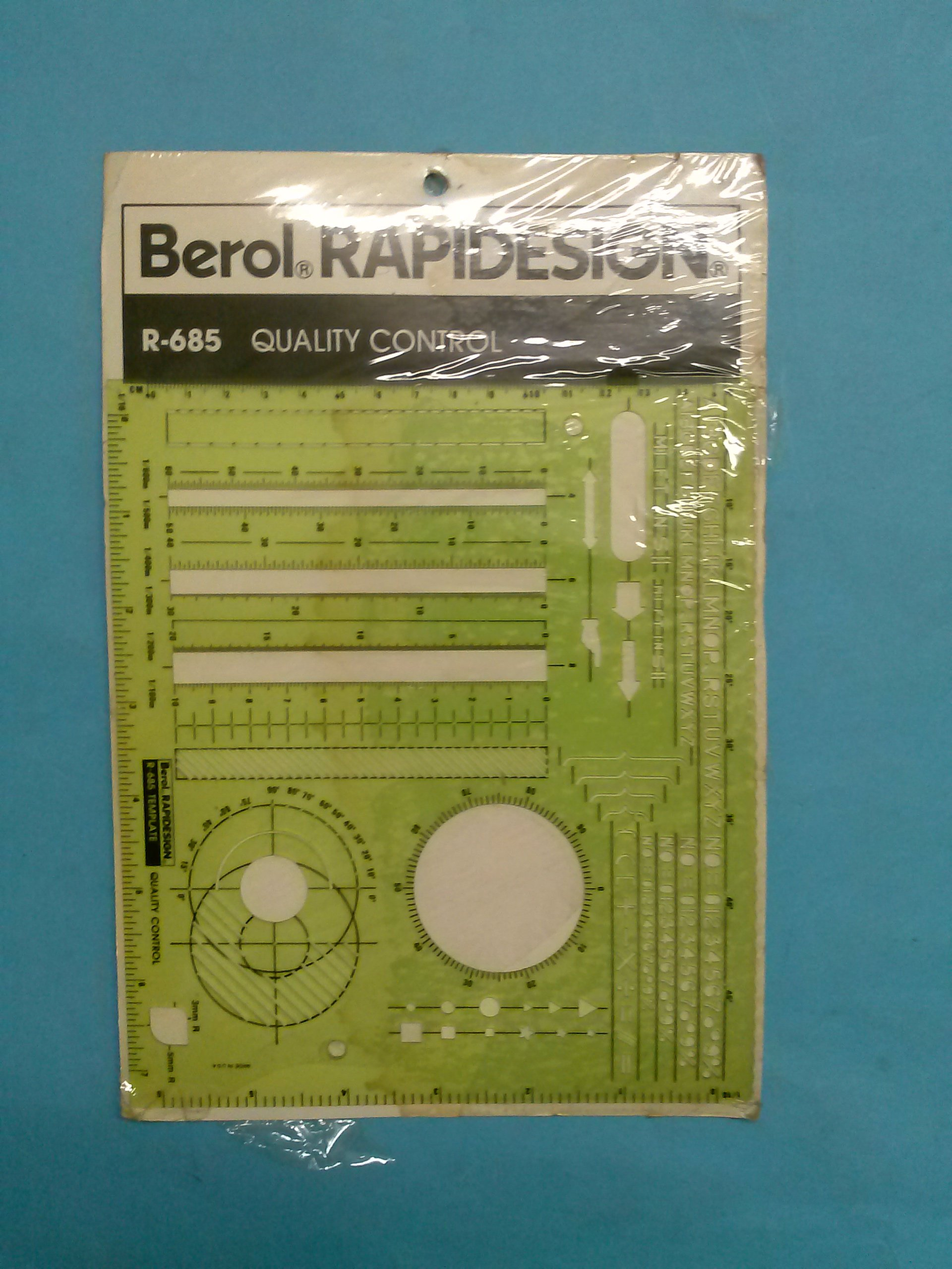 Berol R-685 RapiDesign Technical Drawing Template Quality Control (Virgin Vintage Product)