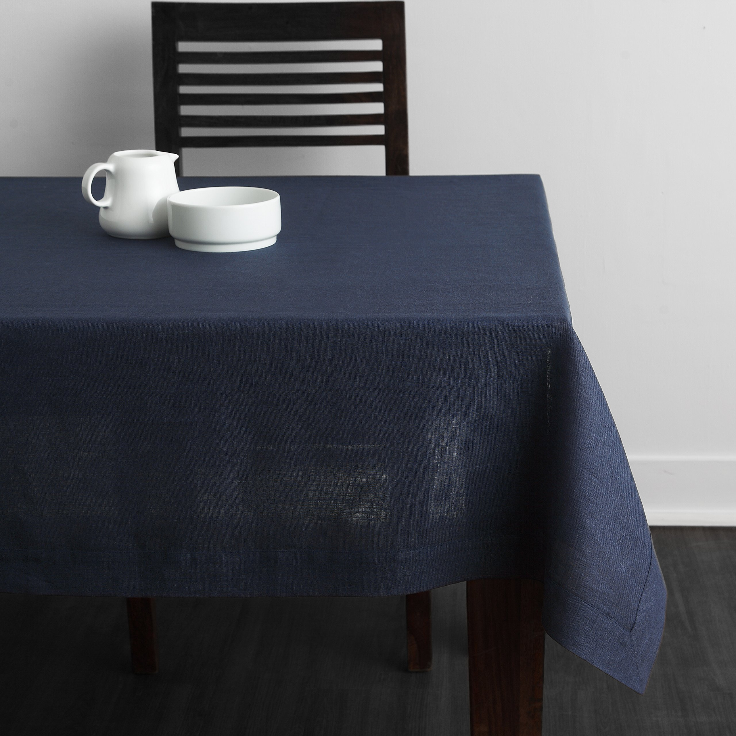 Solino Home Square Linen Tablecloth - 100% European Flax Natural Tablecloth - Athena 60 x 60 Inch Navy