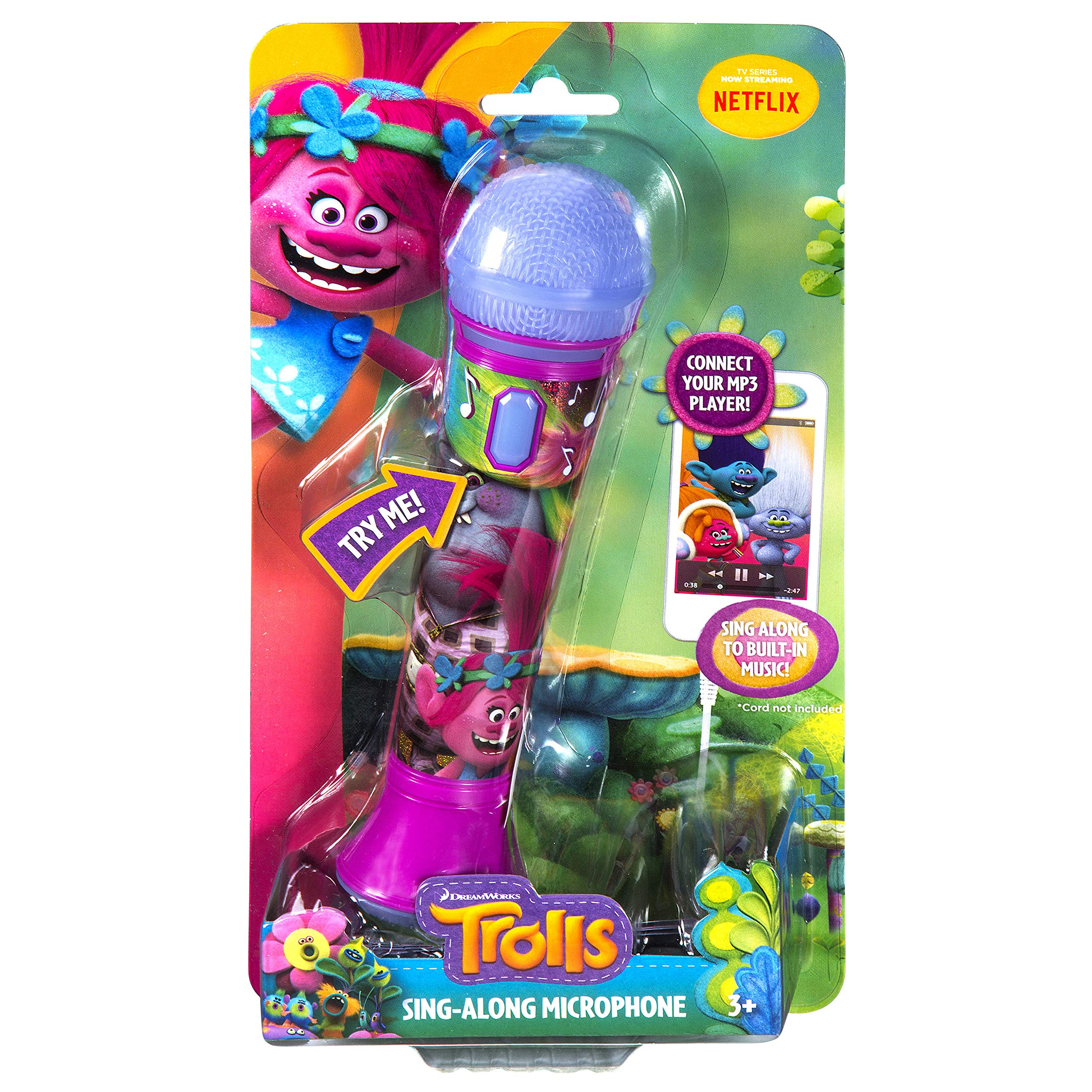 Trolls Sing Along MP3 Microphone Sing to Built in Music or Connect Your Audio Device and Sing to Whatever You Like