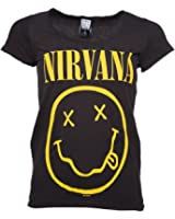 Womens Charcoal Nirvana Smiley T Shirt from Amplified