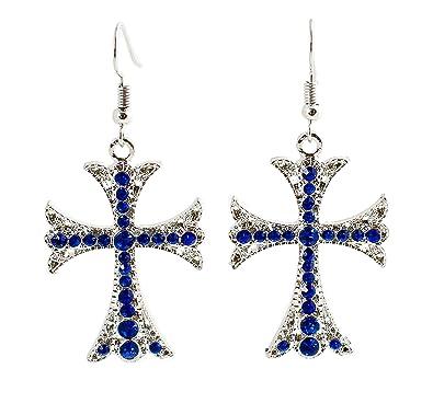 e091d7f66861 geralin Gioielli - Pendientes plata grandes brillantes Cruz Pendientes  Vintage  Amazon.es  Joyería