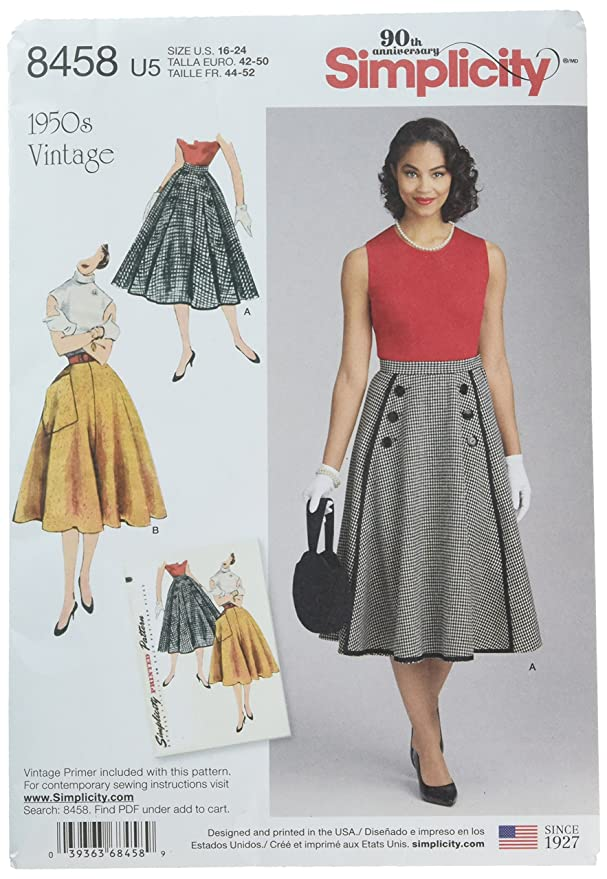 1950s Sewing Patterns | Dresses, Skirts, Tops, Mens Simplicity Vintage US8458U5 Skirts & Pants U5 (16-18-20-22-24) $9.07 AT vintagedancer.com