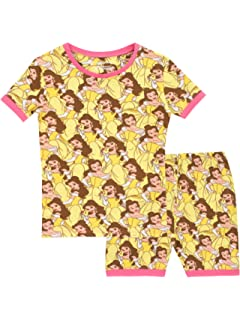 Disney Pijamas de manga corta para niñas La bella y la bestia Ajuste Ceñido