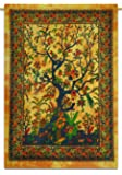 Tree Of Life Cotton Indian Wall Hanging Tapestry Poster Size Yellow Boho Throw 42X30 Inches by Indianbeautifulart