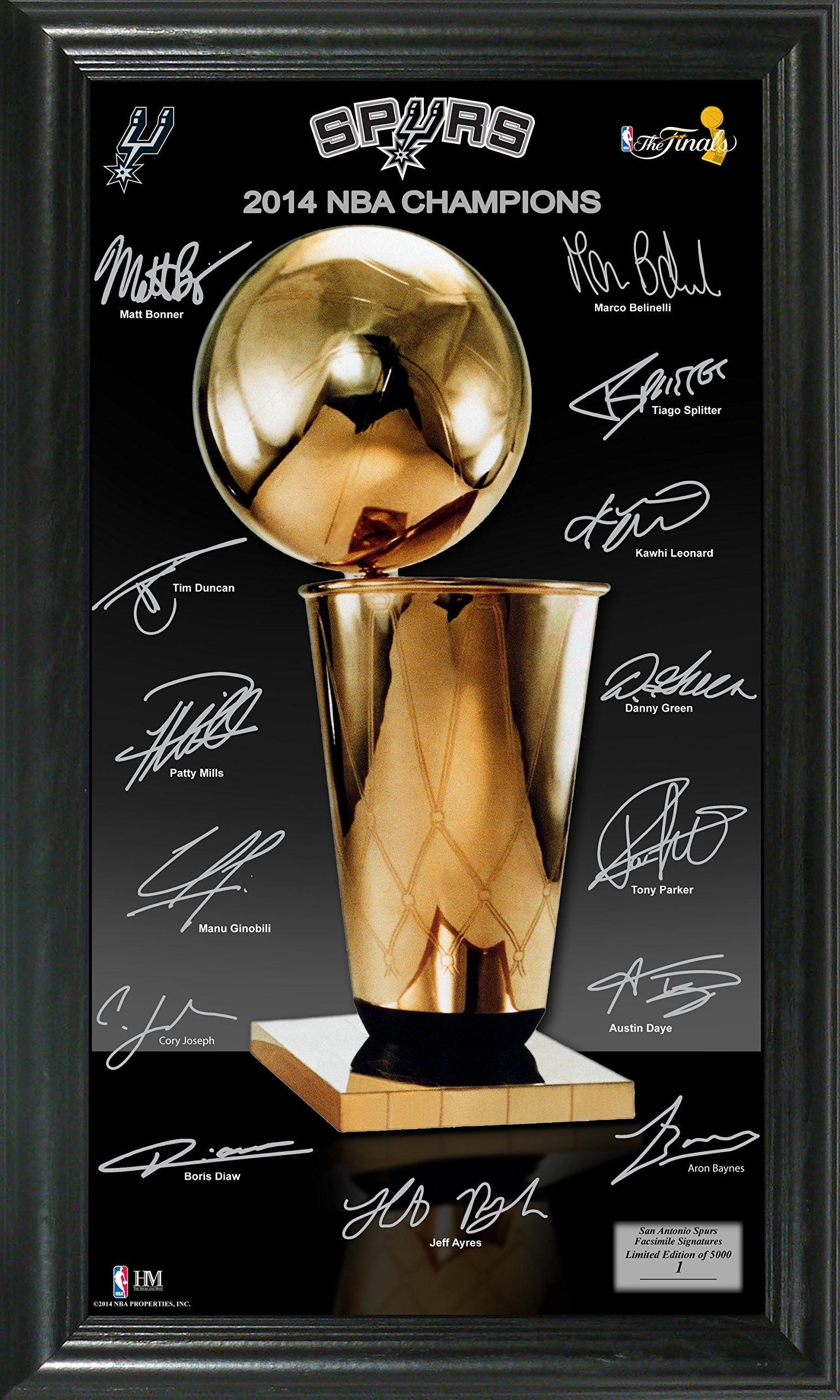 NBA San Antonio Spurs 2014 Finals Champions ''Trophy'' Signature Photo, Black, 22'' x 15'' x 4''