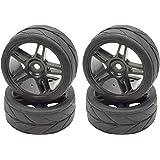 Apex RC Products 1/10 On-Road 12mm Black Split 5 Spoke Wheels V Tread Rubber Tires (Set of 4) #5001