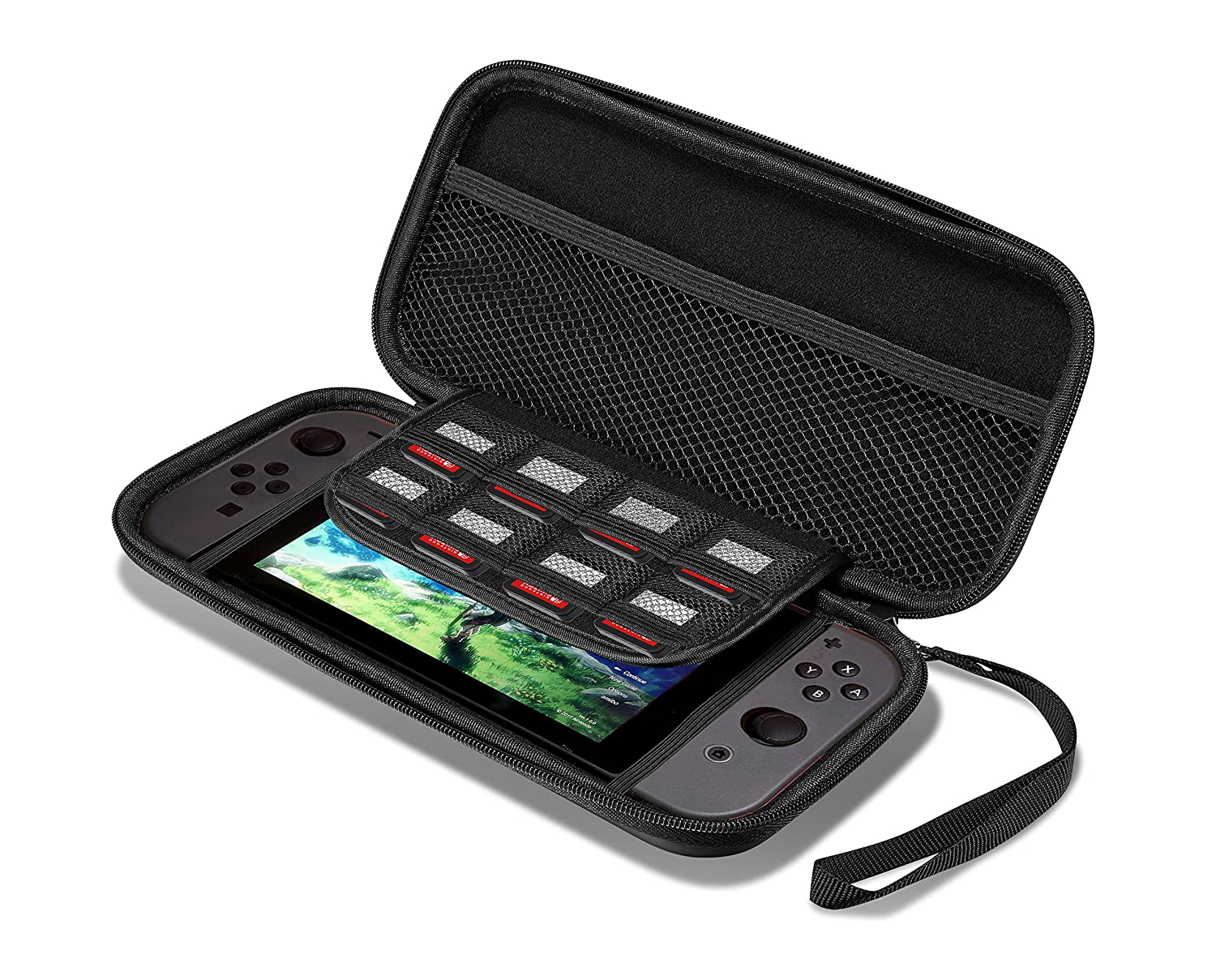 Supremery Nintendo Switch carrying Case Bag (Slim version) with mesh pocket,zipper and handwrist - Water resistant in black