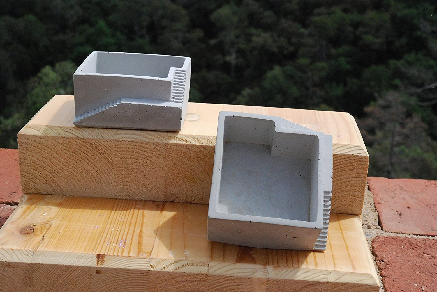 2 Pack de Porta maceta de concreto/Geometry Concret Planter Pot. NO INCLUYE PLANTA: Amazon.es: Handmade