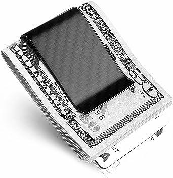 Casualux carbon fiber Slim Wallet card clip and Money Clip-3k carbon fiber MATTE