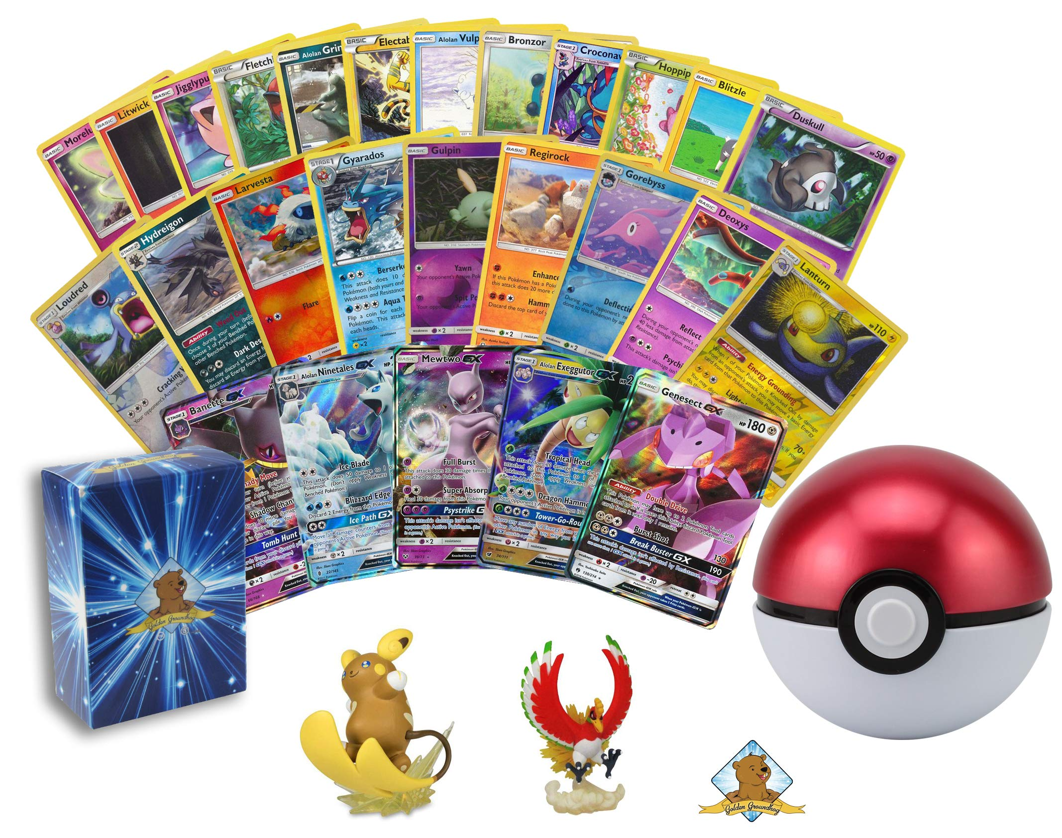 100 Pokemon Cards with 1 GX Ultra Rare - 1 Pokeball Tin with Suprise Pokemon Toy Figure Inside! Rares Foils! Includes Golden Groundhog Deck Box!