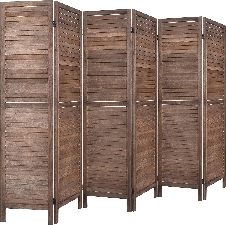 Rose Home Fashion RHF 6 Panel 5.6 Ft Tall Wood Room Divider, Wood Folding Room Divider Screens, Panel Divider&Room Dividers, Room Dividers and Folding Privacy Screens (6 Panel, Brown)