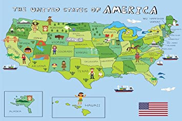 usa map poster for kids with fun illustrations preschool or kindergarten educational poster 18x24