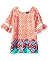 My Michelle Big Girls' Printed Cold Shoulder Top With Keyhole Back
