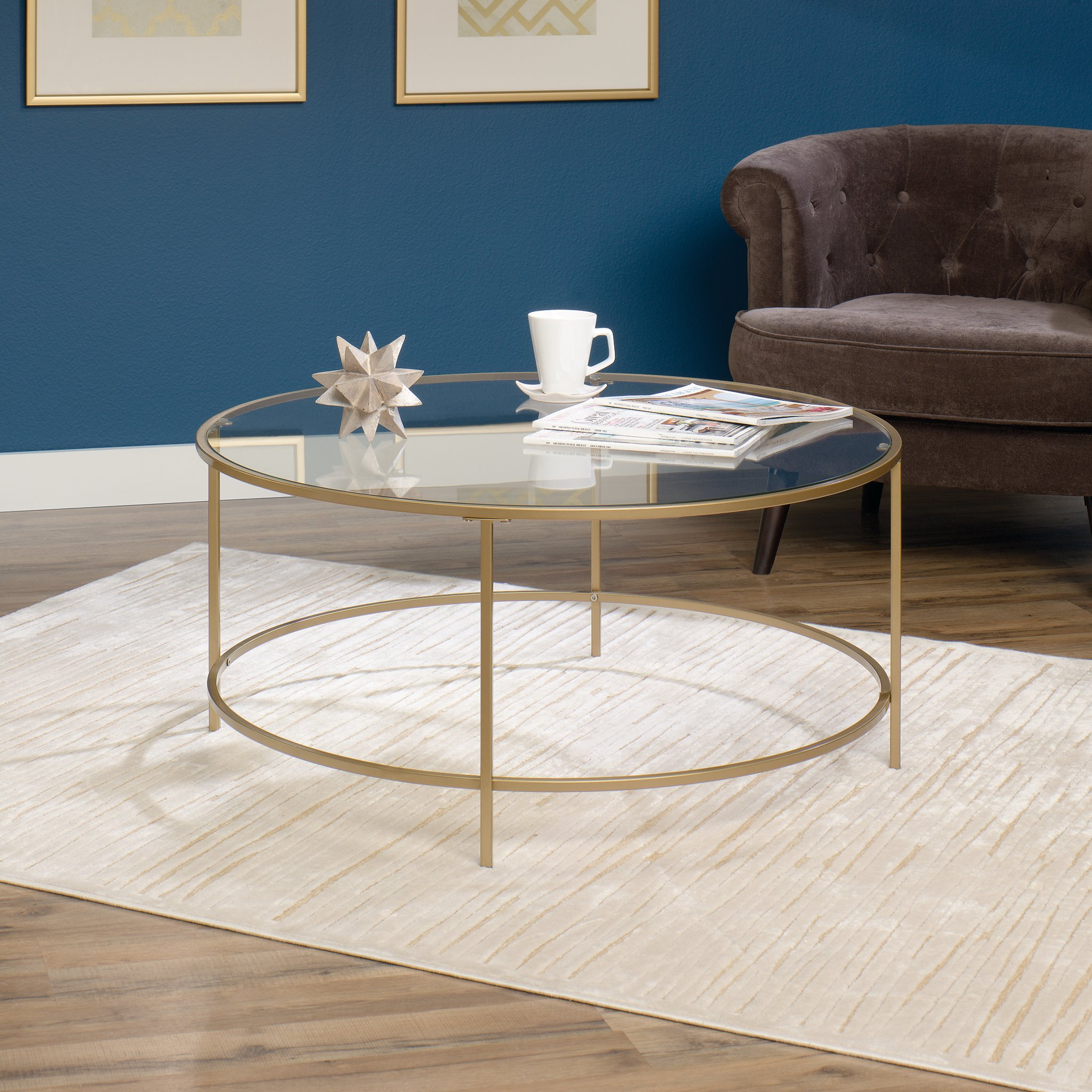 Sauder 417830 int lux coffee table round glass gold finish finished on all