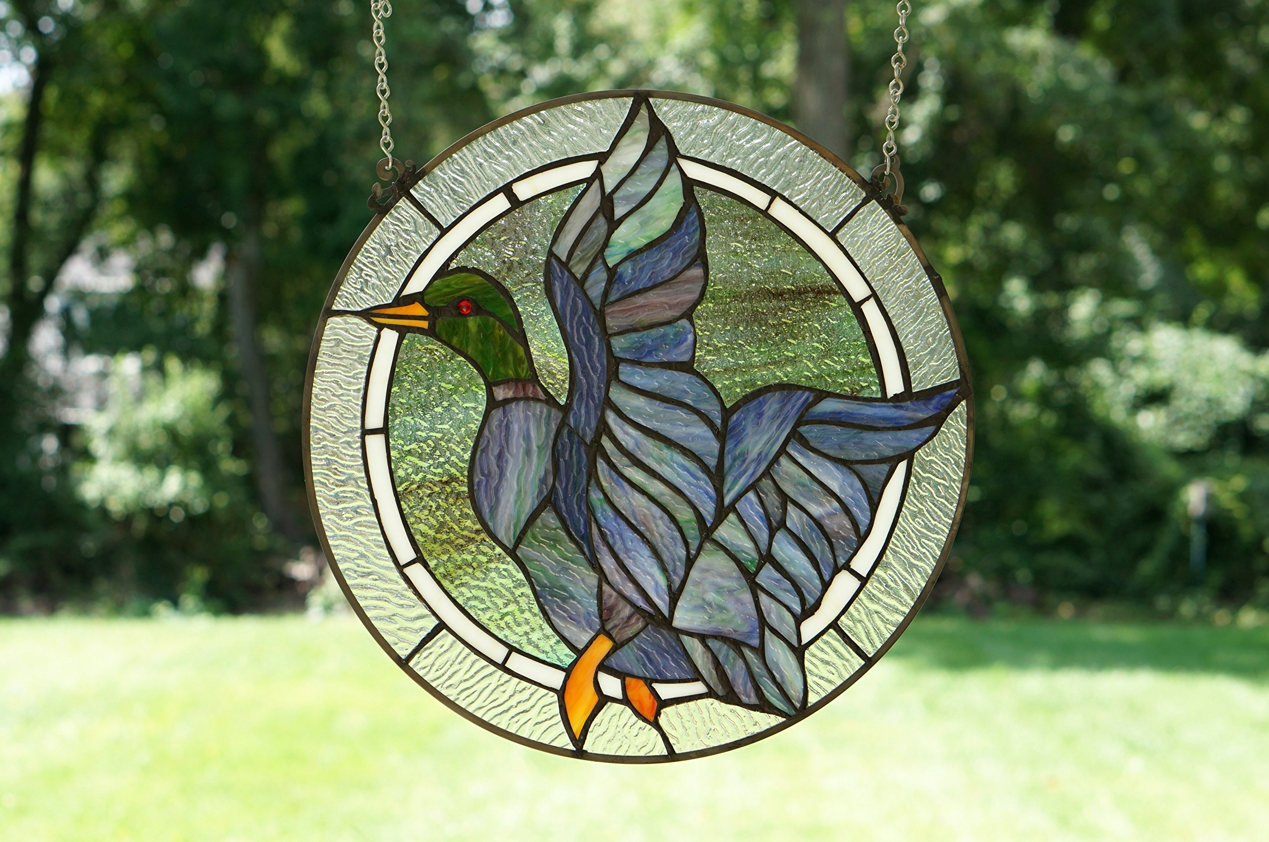 16'' MALLARD DUCK BIRD Tiffany Style Stained Glass Suncatcher Panel