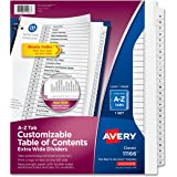Avery Extra-Wide Customizable Table of Contents Dividers, Ready Index Black/White, A-Z, 26-Tab Set (11166)