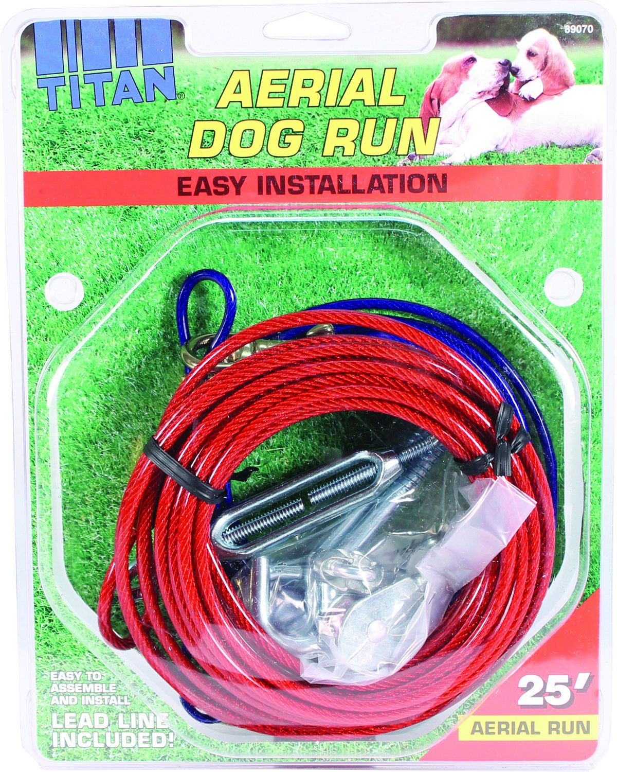 Coastal Pet Products DCP89070 Steel Titan Aerial Dog Run Cable Trolley System with Brass Plated Snaps 25-Feet Red