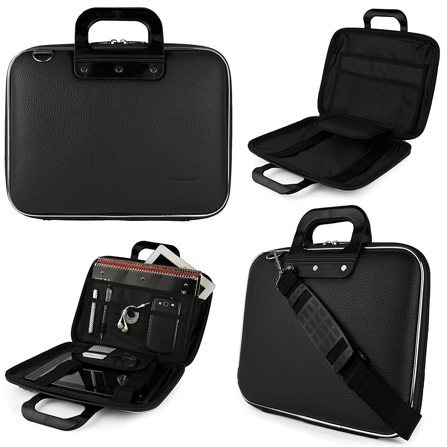 SumacLife Cady Acer Aspire Switch 11 & 11 V 11.6-inch Laptop and Tablet Briefcase Bag (Black) delicate