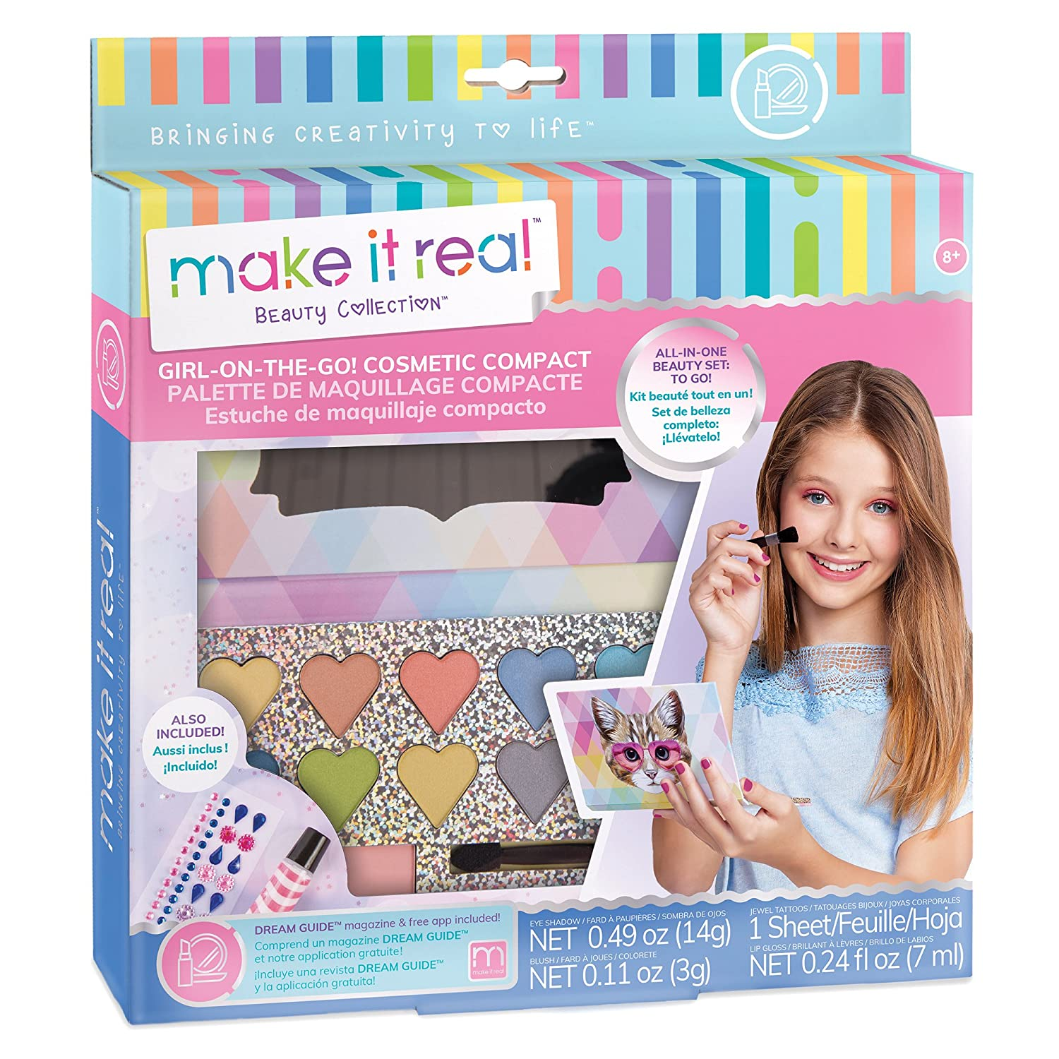 Make It Real 2301 Girl-on-the-Go Cosmetic Compact - Girls Makeup Kit for Kids and Tweens