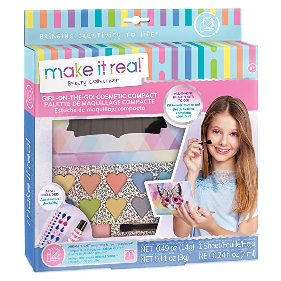 Make It Real - Girl-on-The-Go Cosmetic Compact. Girls Makeup Kit is a Perfect Starter Cosmetic Set for Kids and Tweens. Includes Cat Design Makeup ...