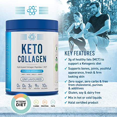 Applied Nutrition Keto Collagen Protein Powder, Hydrolysed Collagen  Peptides + MCT Healthy Fats, Ketogenic & Paleo Diet, Zero Sugar & Carbs,  Healthy Skin, Nails, Hair, Bones, Unflavoured, 325g: Amazon.co.uk: Health &  Personal