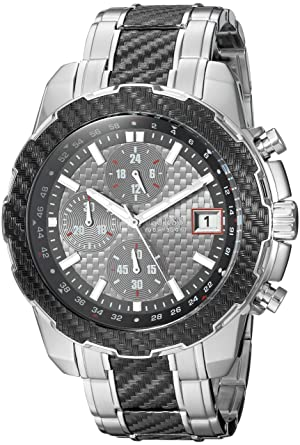 GUESS Mens Stainless Steel Casual Silicone Watch, Color: Silver-Tone/Black (