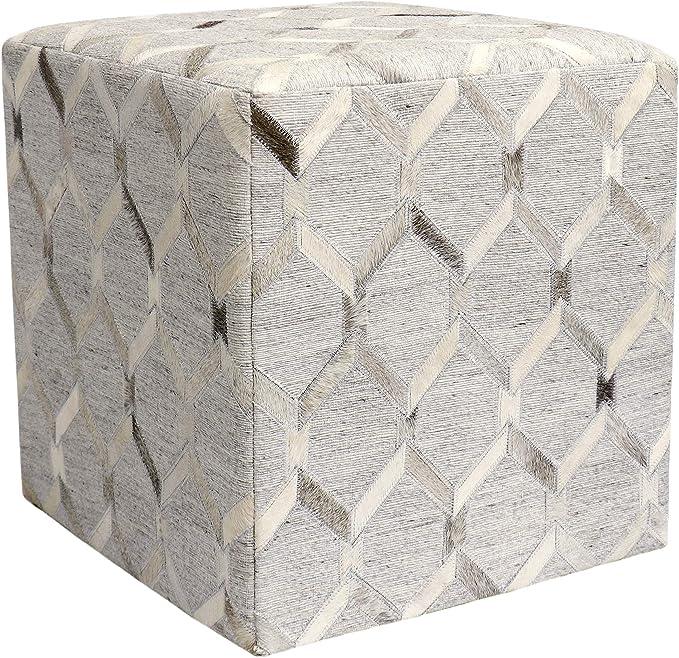 Amazon Com Pasargad Home Galaxy Silver Cowhide Pouf Ottoman Furniture Decor