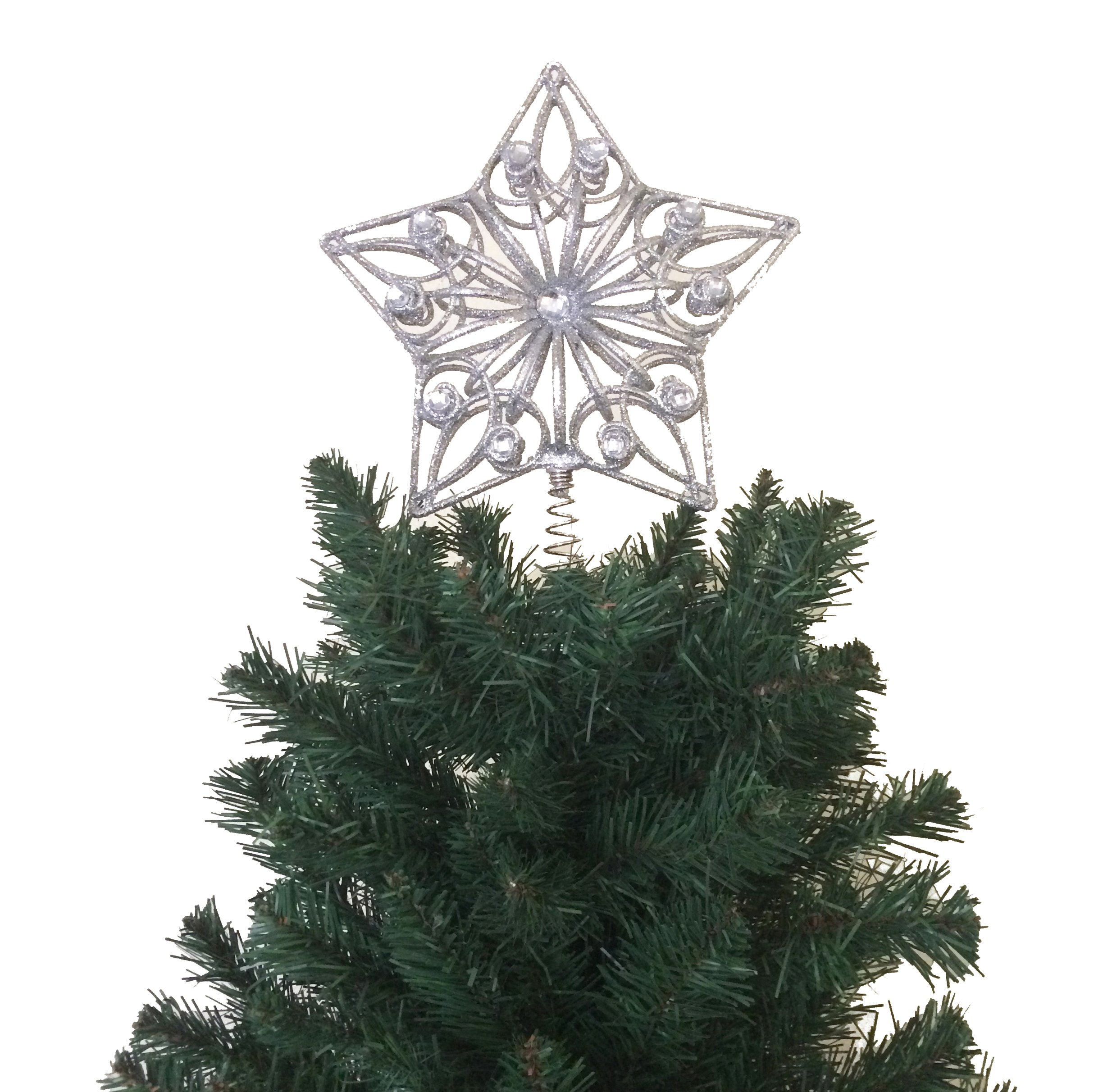 10.5'' H Star Tree Topper With Gem Christmas Tree Decoration - Silver
