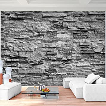 Fototapete Steinwand 3D Effekt Grau 352 x 250 cm Vlies Wand Tapete ...