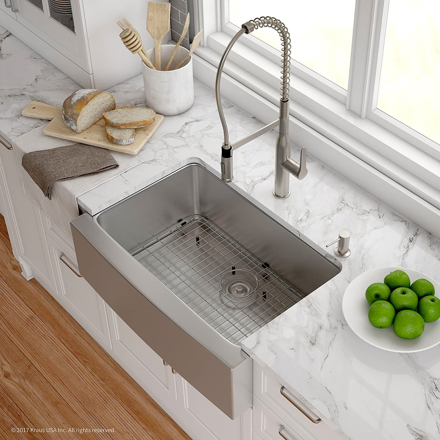 Kraus KHF200-30-1650-41SS 30 Inch Combo with Single Bowl 16 Gauge Apron-Front Farmhouse Sink and Nola Commercial Kitchen Faucet with Soap Dispenser in Stainless Steel