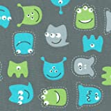 Tissu de coton imprimé pour enfants - Les petits monstres sympathiques - bleu turquoise, vert, gris argent, noir et blanc (tissu gris moyen) | Largeur: 155 cm (1 mètre)
