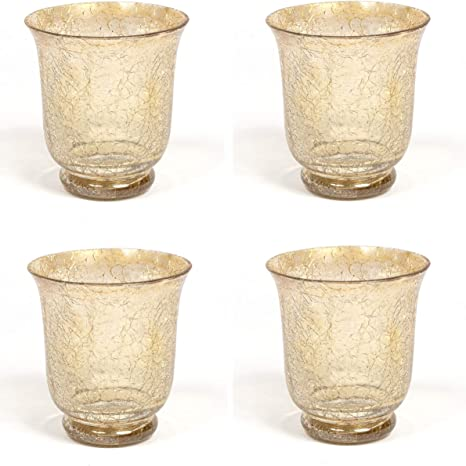 Amazon Com Home Decoration Accessories Mercury Glass Votive Candle Holder Gold Crackle Glass Effect Set Of 4 Home Kitchen