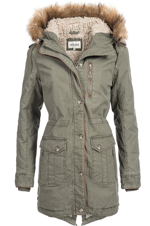 Winterjacke | Winterparka | Baumwollmantel für Damen Modell Load von Desires - eleganter Winter-Mantel im schlanken Parka-Stil mit Fellkapuze aus Kunstpelz