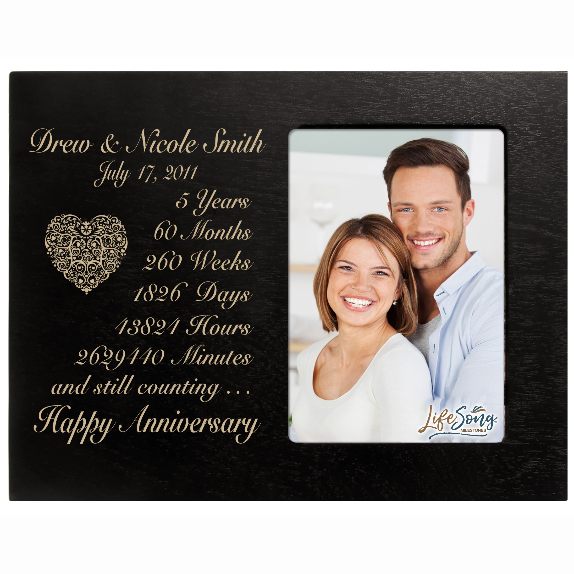 LifeSong Milestones Personalized Five Year for her him Couple Custom Engraved Wedding Gift for Husband Wife Girlfriend Boyfriend Photo Frame Holds 4x6 Photo (Black)